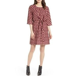 Halogen Pattern Front Knot Tie Dress